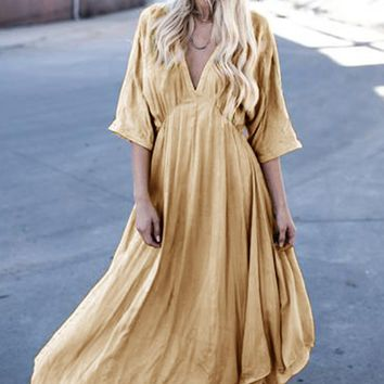B| Women's V Neck 3/4 Sleeve Loose Fit Solid Color Maxi Dress