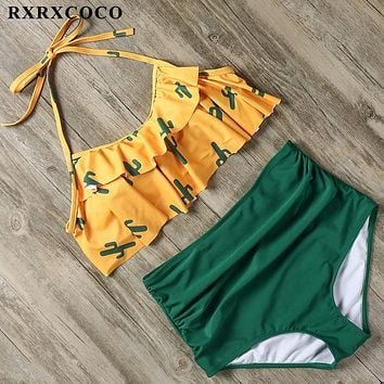 RXRXCOCO 2019 Vintage Ruffle Bikini Set Sexy Swimsuit Women Swimwear High Waist Bathing Suit Push Up Bandeau Brazilian Bikinis