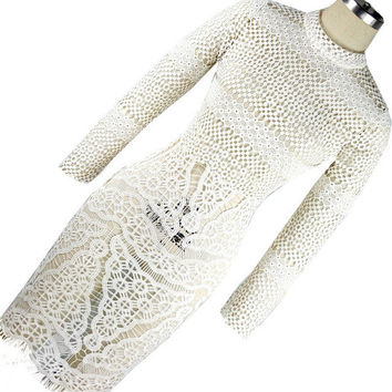 2016 Summer Women White Hollow Out Crochet Lace  Dress Long Sleeve  Embroidery Bodycon Dress Floral Beach Guipure Lace Dress
