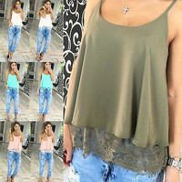 Sexy Women's Summer Lace bottom camis tops Casual Tank Tops T Shirt New Fashion