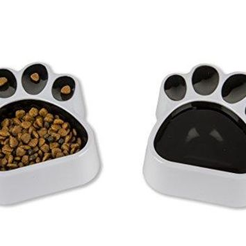 R-Line Paw Shaped Pet Food or Water Bowls for Dogs & Cats Plastic Melamine