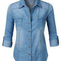 LE3NO Womens Long Sleeve Button Down Denim Shirt with Pockets (CLEARANCE)