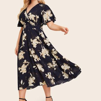 Plus Floral Print Butterfly Sleeve Shirred Dress