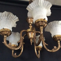 Vintage Antique French Original Brass  Chandelier 5 Shade 1930s - 1940s