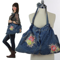 Vintage denim bag Hippie bag Boho bag studded cross body bag purse blue denim tote handbag Festival bag denim plaid lining large