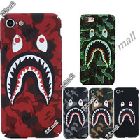 Bape supreme Camouflage Shark Mouth Cases For iPhone 6 case 6s 6Plus 7Plus 7 Case full Cover Brand Matte Screen Protector Cover