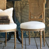 One of a Kind Louis XVI Vintage Side Chair Old Tarnished Bronze Gold Set of 2