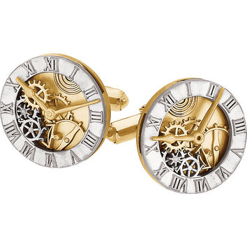 Men's 14 Karat Yellow Gold and Sterling Silver Clock Design Cufflinks