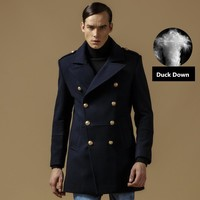 Winter Coat Men Wool Cotton Double Breasted Long Designer Jacket Thicken Mens Peacoat Size M-3XL A0837