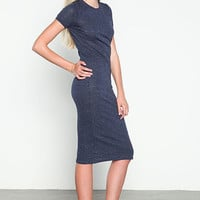 NAVY SPECKLED JERSEY KNIT TEE DRESS