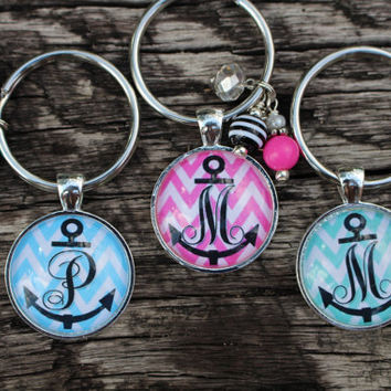 Chevron Anchor Monogram Keychain - Bridesmaids Gift, Party Favors, Best Friends Gift