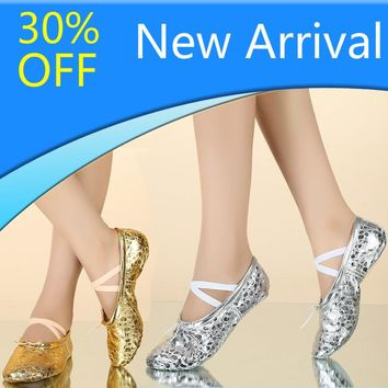 Discount PU Upper Gold Silver Colors Women's Belly Dance Shoes Suede Split Soles Girls Soft Ballet Dance Shoes Pointe Shoes