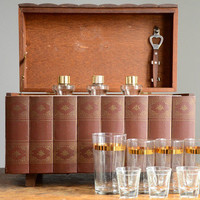 Vintage Hidden Liquor Cabinet in Bookshelf | Red Line Vintage