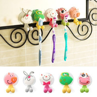 5pcs/lot Ultra Cute Cartoon Sucker Toothbrush Holder / Suction Hooks AP