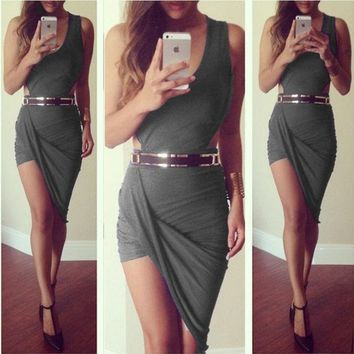 CREYUG3 summer dress 2015 new asymmetrical Dress sexy party elegant bandage casual mini short sleeveless red black grey white prom evening Cocktail bodycon nightclub Dress = 1946254788