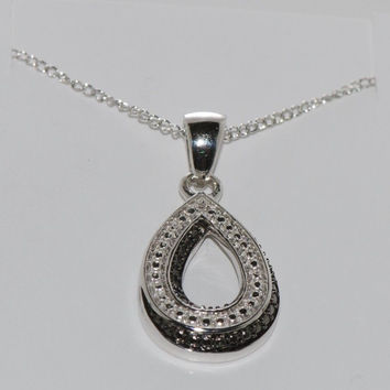 "925 Sterling Silver .01 ct Open Teardrop Diamond Necklace, 18"" chain"