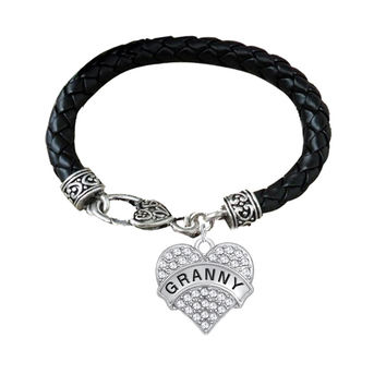 Heart Black Leather Bracelet Fancy Gift For Grandmother