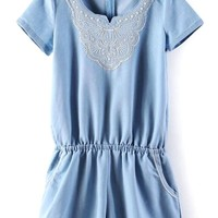 Cute Embroidered Denim Rompers - OASAP.com