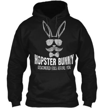 Hopster Bunny Funny Easter T-Shirt With Hipster Bunny Pullover Hoodie 8 oz