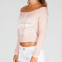 Full Tilt California Baseball Womens Sweatshirt Peach  In Sizes