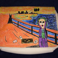Batman and The Joker Upcycled Hand-painted Shoulder Bag-The Scream Parody Painting