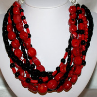 Red Coral Statement Necklace, Black Onyx Multi-Strand Statement Necklace, Black Onyx and Red Coral Gemstone Necklace, Chunky Nugget Necklace