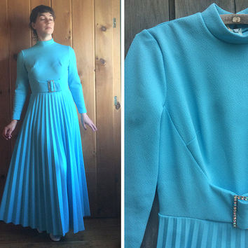 Vintage dress | 1970s pale blue princess maxi gown with rhinestone buckle
