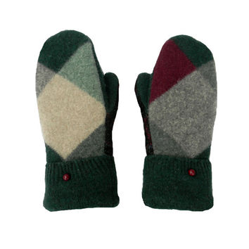 Green Wool Mittens, Argyle and Plaid Mittens, Recycled Wool, Sweater Mittens Made in Wisconsin Gray Plum Black Fleece Lined Ecofriendly Gift
