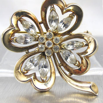 Vintage Trifari Brooch Alfred Philippe Four Leaf Clover Rhinestone Patent Pend. Book Piece