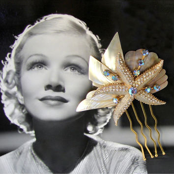 Mother Of Pearl Wedding Hair Comb Weiss Starfish Blue Rhinestones Vintage Abalone Gold Tone