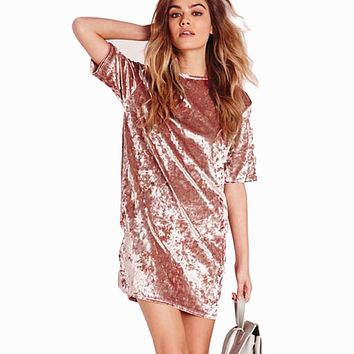 Casual Loose Solid Short Sleeve Velvet Dress Mini Dresses