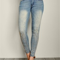 Embellished Skinny Jeans in Medium Wash | VENUS