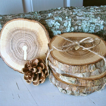 Rustic Wood Coasters Wooden Set of 6 Eco Friendly Hardwood Tree Slices