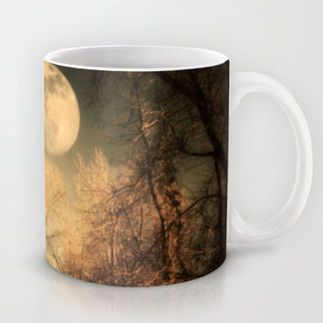 Art Coffee Cup Mug Full Moon photography Java Lovers Gothic nature photo black brown trees tree branches woods woodlands landscape steampunk