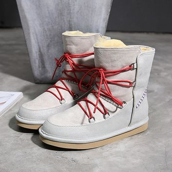 Luxury Winter Snow Boots For Women Sheep Fur Plush Ankle Boots Cotton Shoes Non-skid Wool Australian Boots Ugs - Beauty Ticks