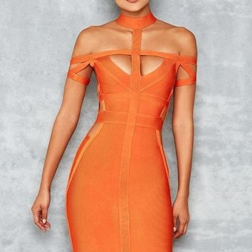 Orange Hollow cut out Bandage Midi dress