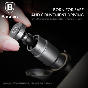 Baseus 2in1 Car Charger with Portable Wireless Bluetooth Earphone Universal 2.4A Fast Car Charger / mini In-Ear Earbuds Headset