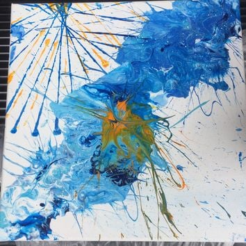 Blue Skies Partly Sunny Abstract Art Painting on Canvas