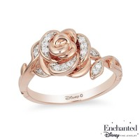 Enchanted Disney Belle 1/10 CT. T.W. Diamond Rose Ring in 10K Rose Gold|Zales