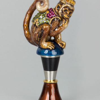 Monkey Wine Stopper - Jay Strongwater