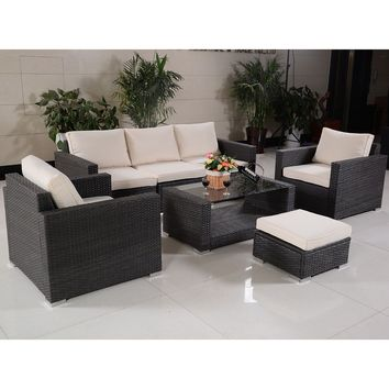 7 PCS Outdoor Patio Rattan Wicker Furniture Set Sectional Sofa Table Cushioned