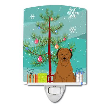 Merry Christmas Tree Briard Brown Ceramic Night Light BB4207CNL