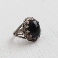Vintage Sterling Silver Onyx Black Glass Stone Ring - Size 5 1/2 Filigree Metal Work Mid Century Jewelry / Chunky Statement