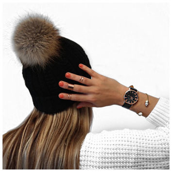 Fur Pom Pom Hat / Winter Hat / Black Rabbit Fur Hat
