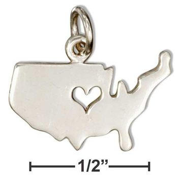 Sterling Silver Silhouette Usa Charm With Cut-out Heart