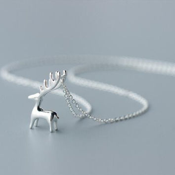 Real. 925 Sterling Silver antler /deer Pendant Necklace Animal antler horn jewelry GTLX999