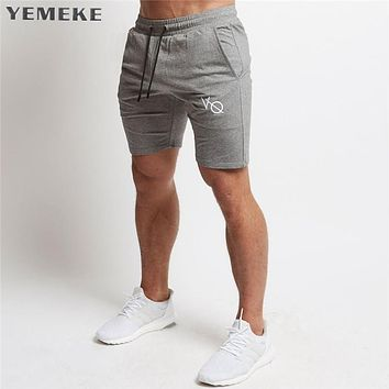 Men cotton shorts Calf-Length gyms Fitness Bodybuilding Casual Joggers workout sporting short pants Sweatpants Sportswear