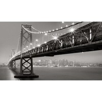 Bay Bridge at Night Unframed Wall Canvas (24X42)