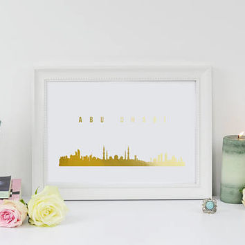 Abu Dhabi Print, Abu Dhabi Skyline, Abu Dhabi Cityscape, Skyline Art, Real Gold Foil Print, Home Decor, United Arab Emirates Skyline,
