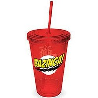 ICUP Big Bang Theory Bazinga Cup with Straw, Clear